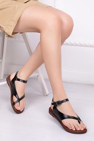Hakiki Deri Siyah Kadın Deri Sandalet Dp-0081
