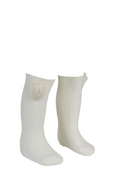 Krem Ponponlu Dizaltı Çorap 1-2 Yaş Kız Çocuk / Bebek
