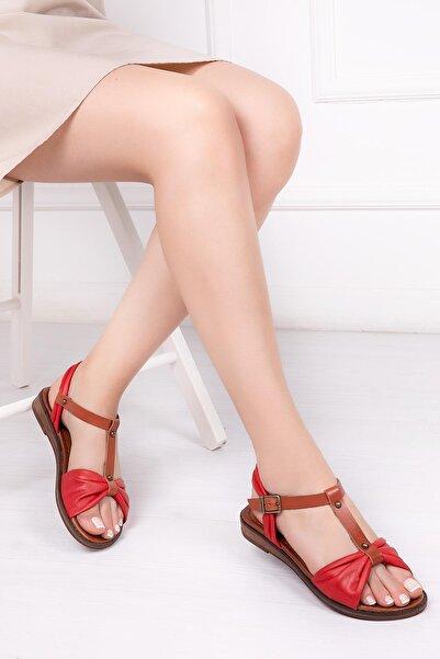 Hakiki Deri Kırmızı Kadın Deri Sandalet Dp-0087