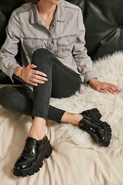 Siyah Rugan Kadın Oxford Ayakkabı M0778267098