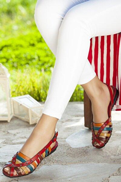 Hakiki Deri Kırmızı Multi Kadın Deri Sandalet Dp11-6203