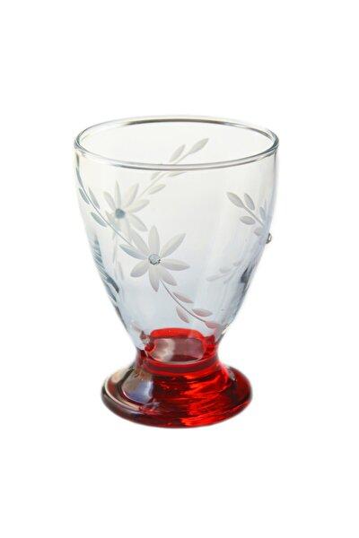 41011 Çın Çın 12 Adet (Kırmızı Berceste Taşlı ) Su-meşrubat Bardağı
