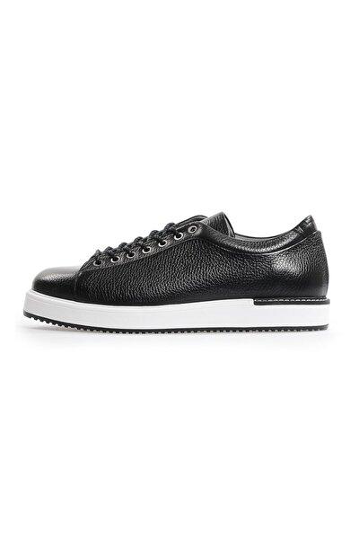 Siyah Deri Bağcıklı Erkek Sneakers