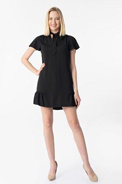Yakası Kuşaklı Fırfırlı Elbise Y-5802 Siyah