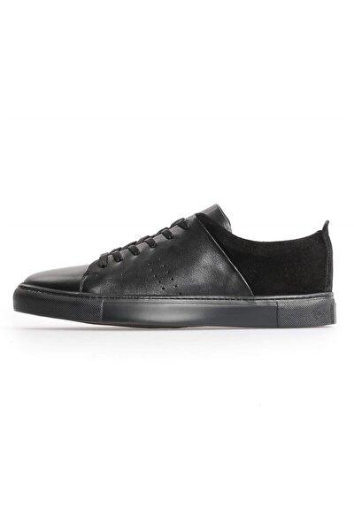 Siyah Deri Süet Kombin Bağcıklı Erkek Sneakers