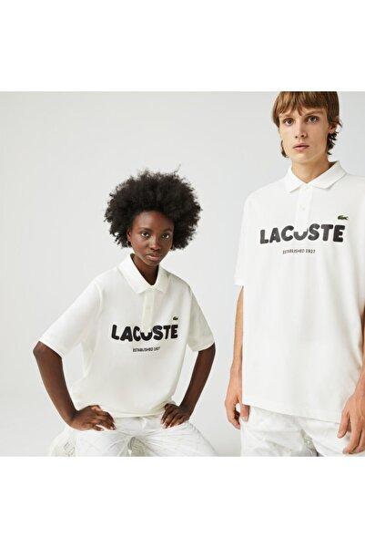 L!VE Unisex Loose Fit Baskılı Beyaz Polo Yaka T-Shirt