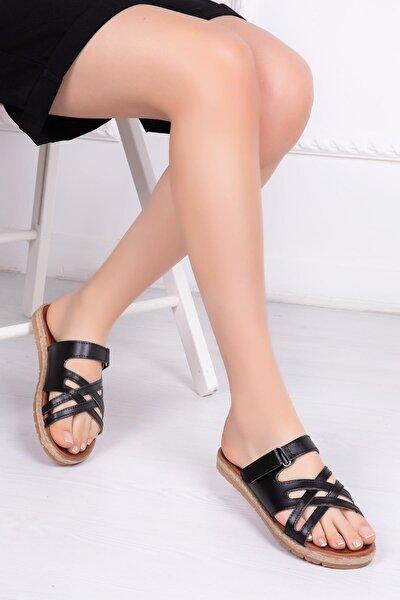 Hakiki Deri Siyah Kadın Deri Sandalet Rma-7145
