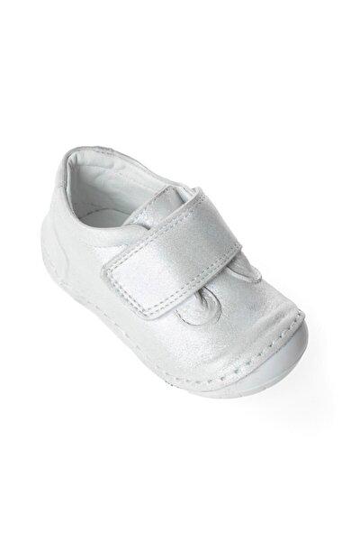 Ortopedik Kışlık Hakiki Deri Parlak Beyaz Kız Bebek Ilk Adım Ayakkabısı
