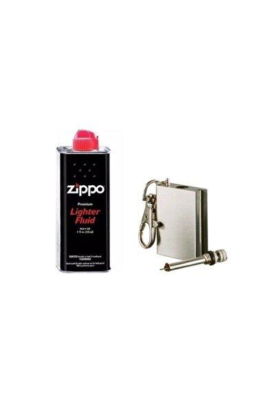 Metal Kibrit Magnezyum Çakmak Ve Zippo Benzin Seti