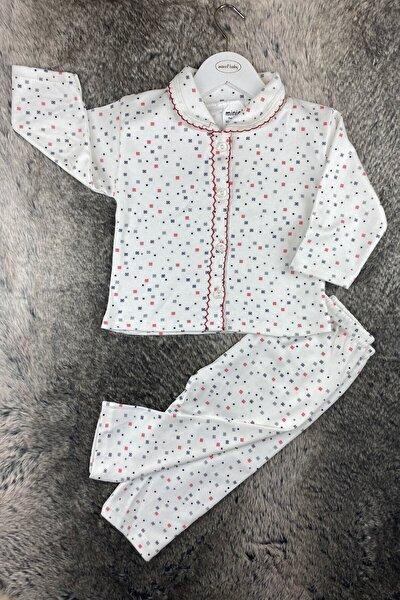 Minik Kareler Erkek Bebek Patiksiz Pijama Takımı