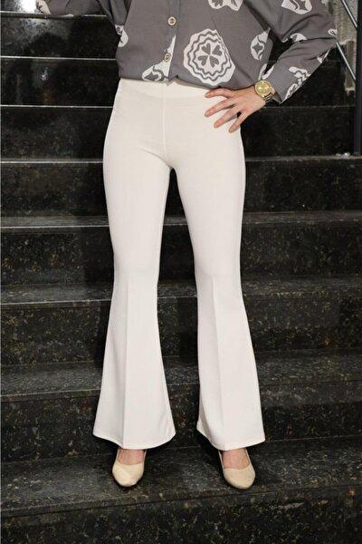 Ispanyol Paça Pantolon Beyaz