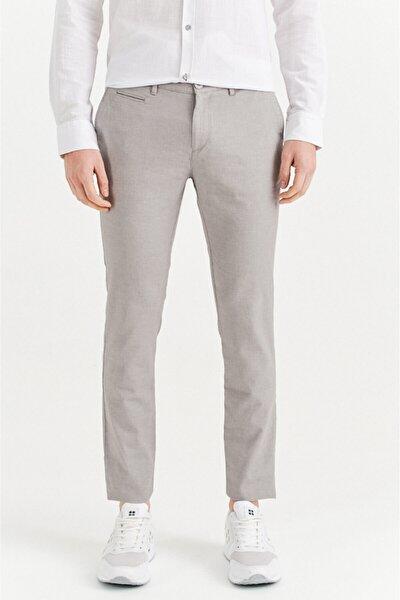 Erkek Gri Yandan Cepli Armürlü Slim Fit Pantolon A01y3031