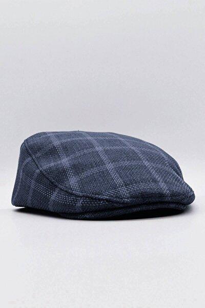 Erkek Ekoseli Keten Kasket Yazlık Şapka - Lacivert