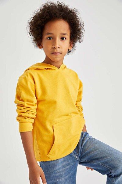 Erkek Çocuk Sarı  Kapüşonlu Sweatshirt