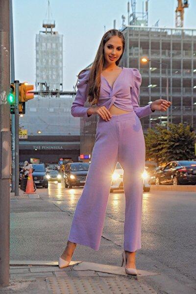 Lila Bluz Pantolon Alt Üst Triko Takım