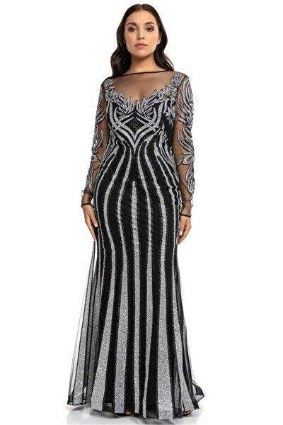 Gümüş Siyah Transparan Simli Uzun Abiye Elbise
