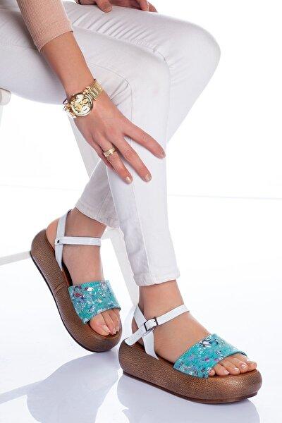 Lizy Deri Sandalet Yeşil