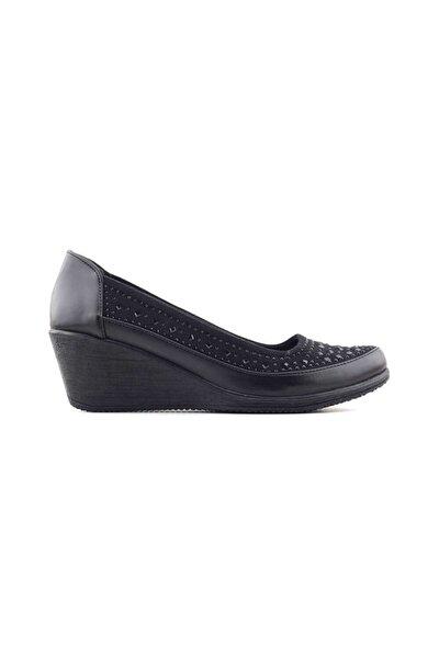 386041 Kadın Günlük Ayakkabı-siyah Taşlı