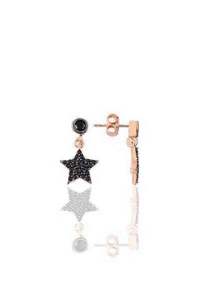 Gümüş Siyah Taşlı Yıldız Modeli Küpe