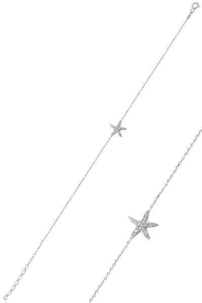 Gümüş Zirkon Taşlı Deniz Yıldızı Modeli Bileklik Sgtl10094rodaj