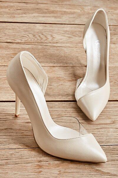 Beyaz Sedef Kadın Klasik Topuklu Ayakkabı K01596177209