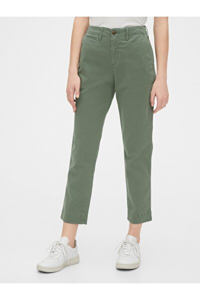 High Rise Straight Fit Khaki Pantolon