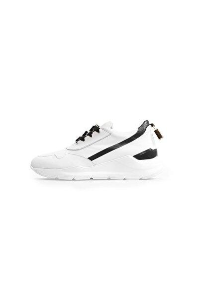 Beyaz Deri Aksesuar Detaylı Spor Ayakkabı