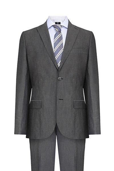 Gri Yarım Astar Takım Elbise