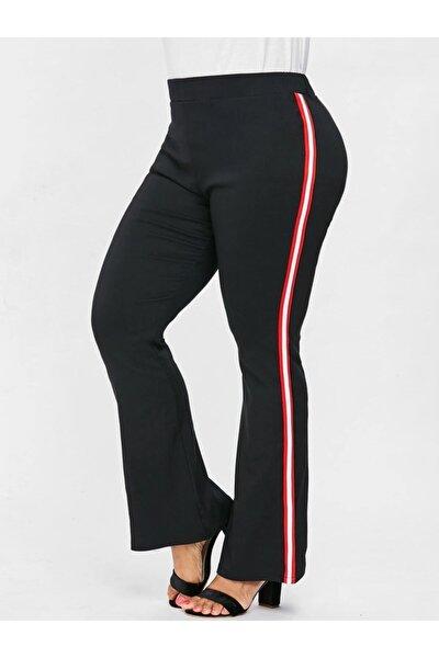Kadın Siyah Büyük Beden İspanyol Paça Şeritli Dalgıç Kumaş Pantolon
