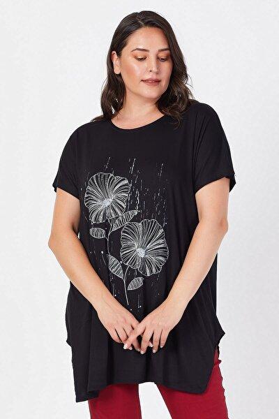 Büyük Beden Siyah Salaş Sümbül Çiçek Baskılı T-shirt