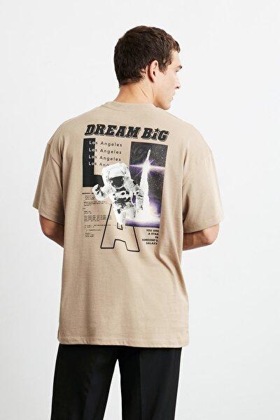 MAXIMUS Erkek Bej Önü Ve Arkası Baskılı Oversize Kısa Kollu T-Shirt