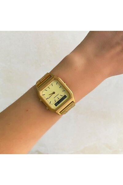 Gold Çift Göstergeli Saat