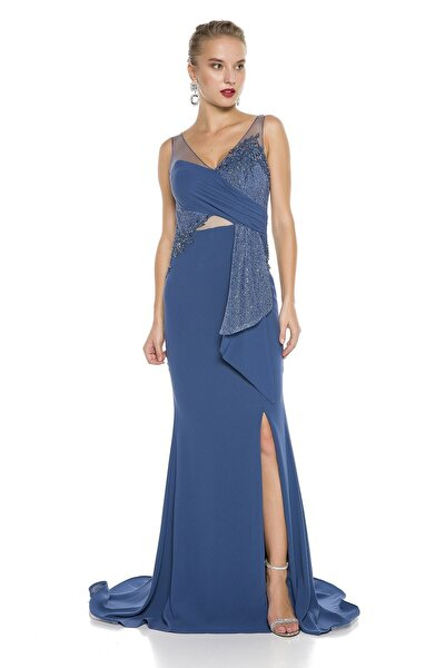 Mavi Sırt Ve Bacak Dekolteli Sırt Detaylı Uzun Abiye Elbise