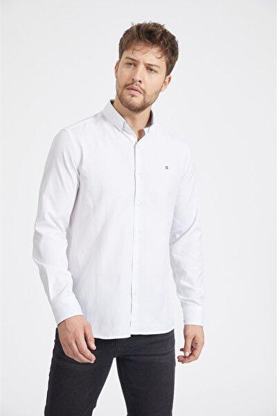 Erkek Beyaz Oxford Düğmeli Yaka Slim Fit Gömlek A02b2287