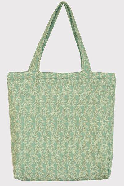 Kadın Omuz Çantası Su Geçirmez Kumaştan Mint Yeşili Üzerine Bej 4 Yaprak Desenli