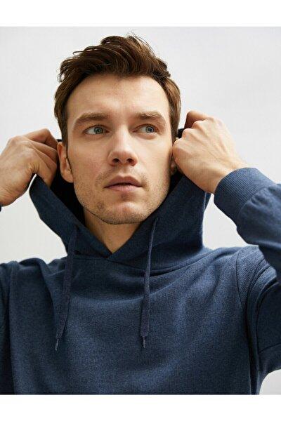 Erkek Lacivert Kapüşonlu Pamuklu Uzun Kollu Basic Sweatshirt