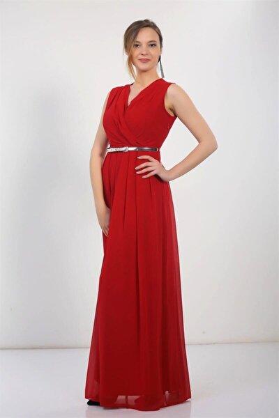Kruvaze Beli Kemerli Uzun Şifon Elbise Kırmızı