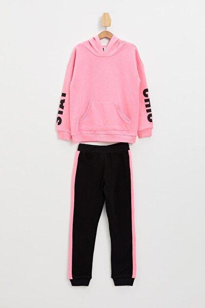 Kız Çocuk Baskılı Sweatshirt Ve Jogger Eşofman Takım
