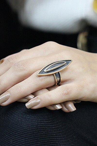 Çekiç Dövme Elişi Gümüş Tasarım Mekik Yüzük 2552
