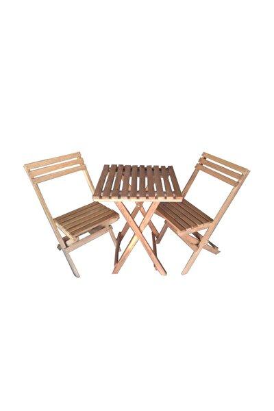 Ahşap Katlanır Bistro Masa Sandalye Takımı