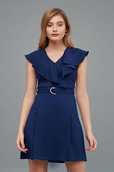 Elbise V Yaka- Yaka Kenarı Volan Detaylı, Bel Kuşak Kombinli
