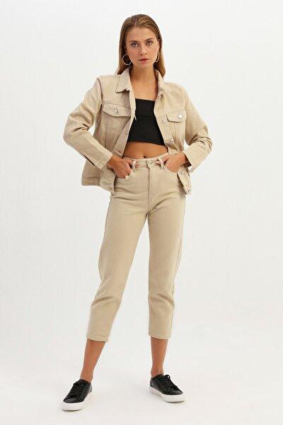 Kadın Basic Kot Ceket Bej