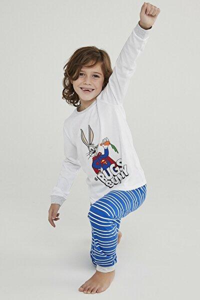Çok Renkli Erkek Çocuk Super Bunny 2li Pijama Takımı