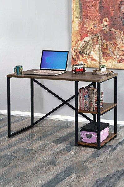 Metal Çalışma Masası Laptop Bilgisayar Masası 2 Raflı Ofis Çalışma Masası Ceviz