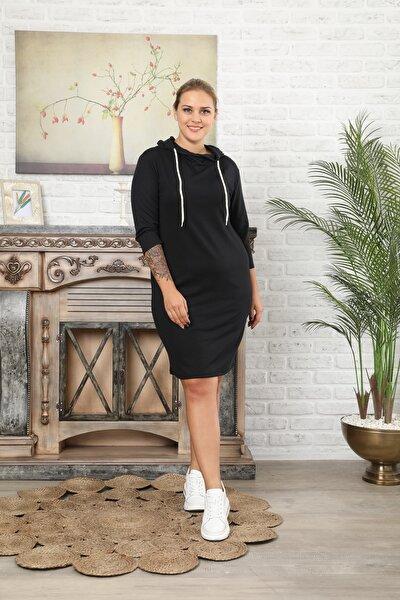 Kadın Büyük Beden Siyah Kapşonlu Elbise