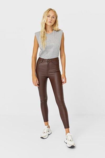 Mumlu Görünümlü Yüksek Bel Pantolon