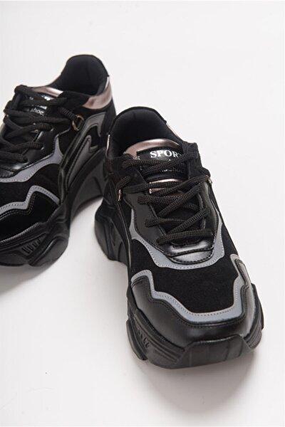 223 Siyah Cilt Kadın Spor Ayakkabı