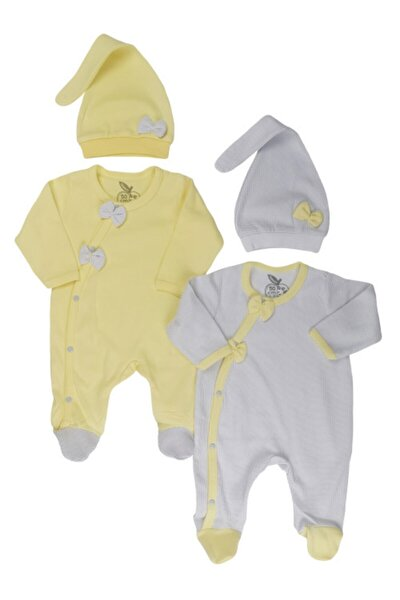 Fiyonklu Puantiyeli Ve Düz Şapkalı Kız Bebek Tulum 2'li Set