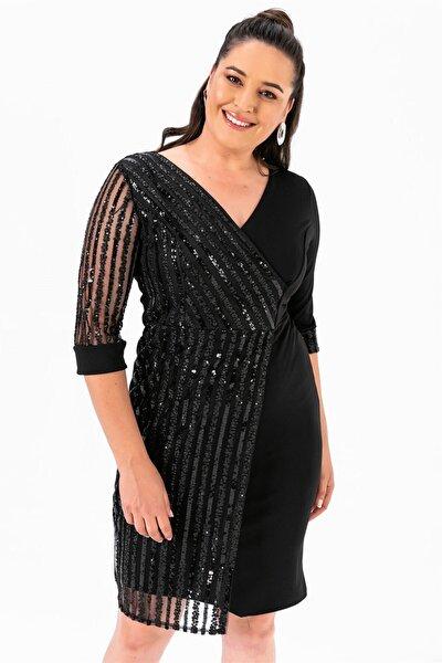 Kol Pul Payet Büyük Beden Elbise Siyah