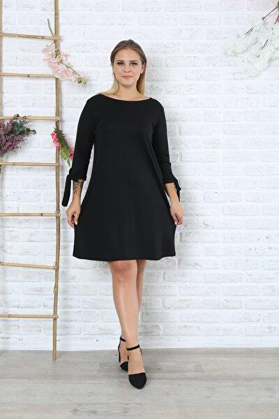 Kadın Büyük Beden Siyah Kolları Ipli Yuvarlak Yaka Elbise